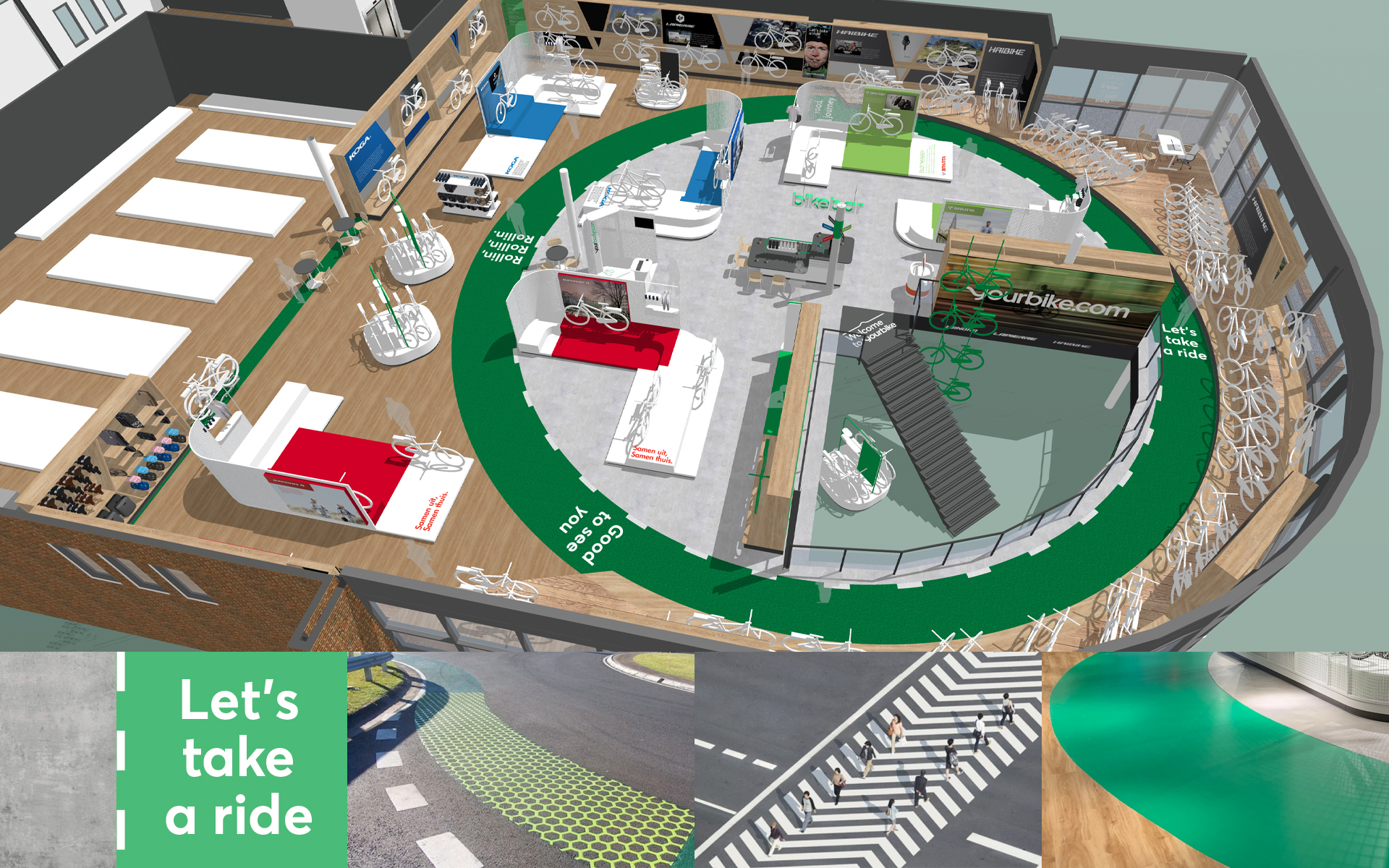 Accell - Yourbike overview render 3D store Experience Concept Spatial & Interior Design DAY